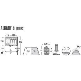 High Peak Albany 5 Tiendas de campaña, grey/blue